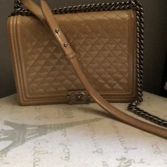 CHANEL Handbags - Chanel boy bag beige patent leather